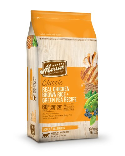 Merrick Classic 15-Pound Adult Real Chicken, Brown Rice And Green Pea Dog Food, 1 Bag