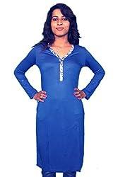 Miraaya Women's Cotton Hosiery Kurti (M2432G_79231_Blue_X-Small)