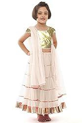 Beautifull Small Girl's White Lehenga Choli With Dupatta (8-10 Years) Presenting by Sixsense Retailers