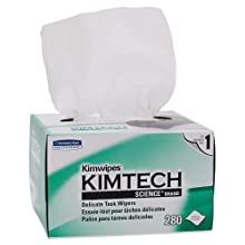 "Kimberly-Clark Kimtech Science 34120 Kimwipes Delicate Task Disposable Wiper, 8-25/64"" Length x 4-25/64"" Width, White (30 Cartons of 280)"