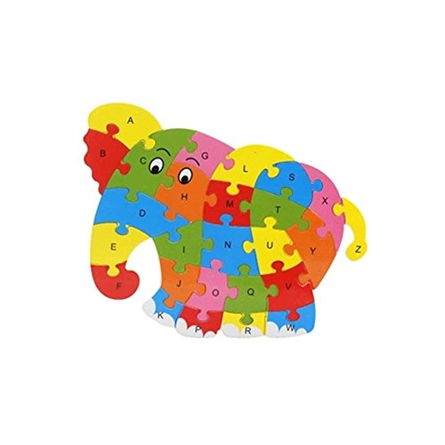 Zerowin-Wooden-Toys-Cute-Animals-Shaped-Alphabet-Puzzle-Educational-Learn-Letters-Numbers-Jigsaw-GiftsElephant