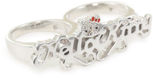 "Hello Kitty ""Nameplate"" Doubleknuckle Ring, Size 7"