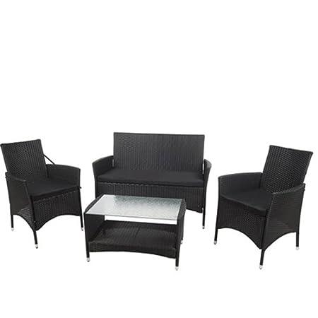 Set divano e poltrone da giardino completo di tavolino per esterno.