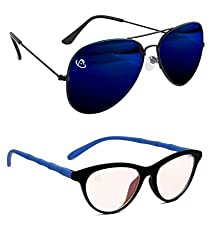 Aventus Combo of Mirrored Blue Aviator & Clear Lens Cateyes Women COMS05S14