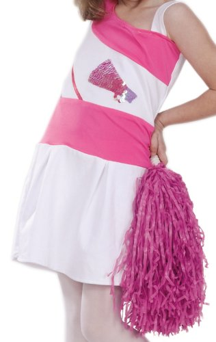 POPATU - White & Pink Cheerleader Dance Costume with Pink PonPons,