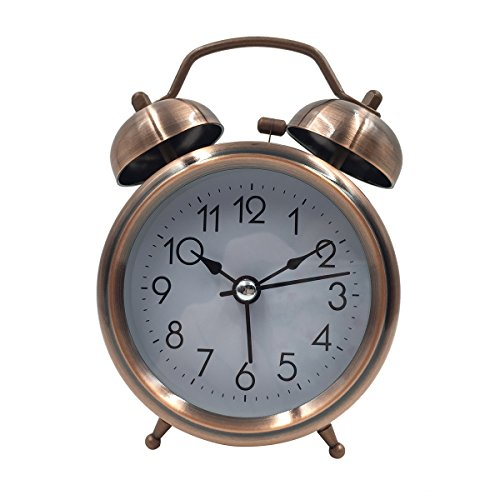 [High Quality]Hippih 3 Inch Quiet Clock Alarm Clock Loud Twin Bell Silent Quartz Analog Retro Vintage Bedside with Nightlight for Kids(Simple Copper)