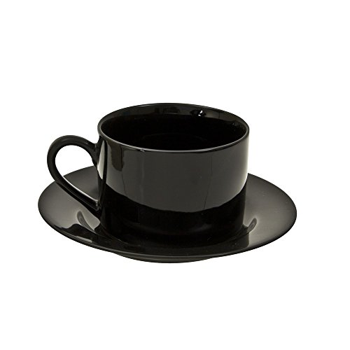 Ten Strawberry Street Black Rim - 6 Oz Cup And Saucer - Set of 6 BRB00096