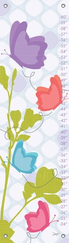 Oopsy Daisy Butterfly Flutterby by Stacy Amoo Mensah Growth Charts, 12 by 42-Inch