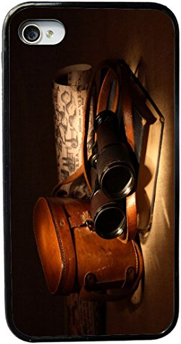 Rikki Knighttm Vintage Old Binoculars With Bag Design Iphone 4 & 4S Case Cover (Black Rubber With Bumper Protection) For Apple Iphone 4 & 4S