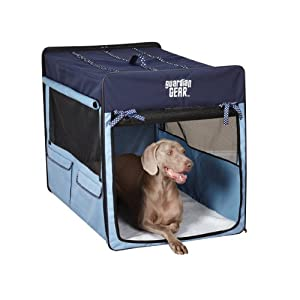 Guardian Gear Polyester Polka Dot Collapsible Dog Crate, X-Small, Blue