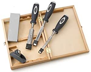 Footprint 89 Series 389MPS 3 Soft Grip Chisels, Mini Plane & Honing Stone in Wooden Storage Box