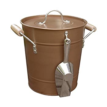 "Antique Rustic Style Copper Ice Bucket with Scoop, Handles, and Lid, Brown, Medium, 10"" x 10"" x 9"""
