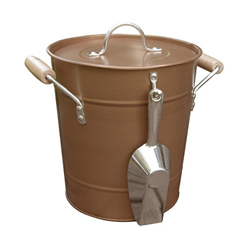 "Antique Rustic Style Copper Ice Bucket with Scoop, Handles, and Lid, Brown, Medium, 10"" x 10"" x 9"" 0"