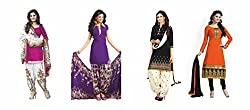 Sky Global Women's Printed Unstitched Regular Wear Salwar Suit Dress Material (Combo pack of 4)(SKY_Combo_341)(SKY_521_Pink)(SKY_538_Purple)(SKY_527_Black)(SKY_503_Orange)