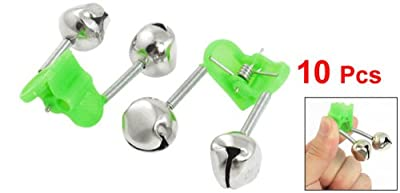 10 Pcs Green Spring Loaded Clip Double Fishing Rod Alarm Bells Silver Tone