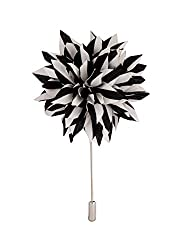 Avaron Projekt Handmade Black And White Striped Flower Lapel Pin /Brooch For Men