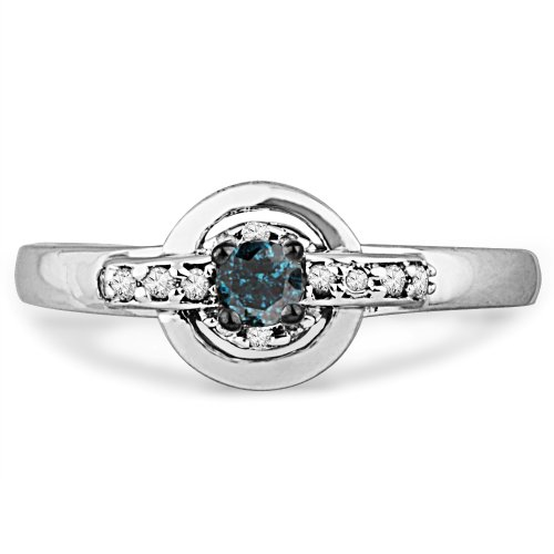 10KT White Gold Blue And White Round Diamond Round Promise Ring (1/5 cttw)