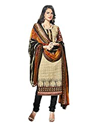 Inddus Women Cream & Black Printed Handloom Cotton Dress Material