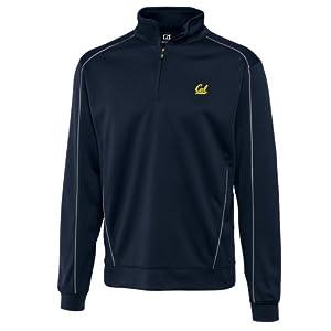 NCAA Mens California Bears Navy Blue Drytec Edge Half Zip Jacket by Cutter & Buck