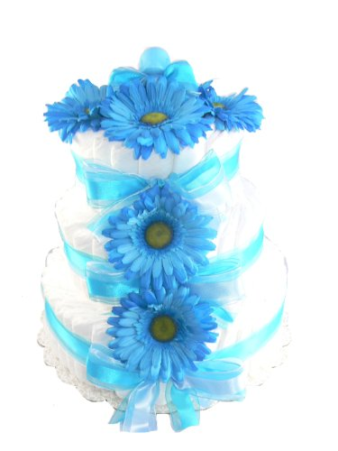 3 Tier - 100 Diaper Baby Shower Diaper Cake Centerpiece (Baby Blue)