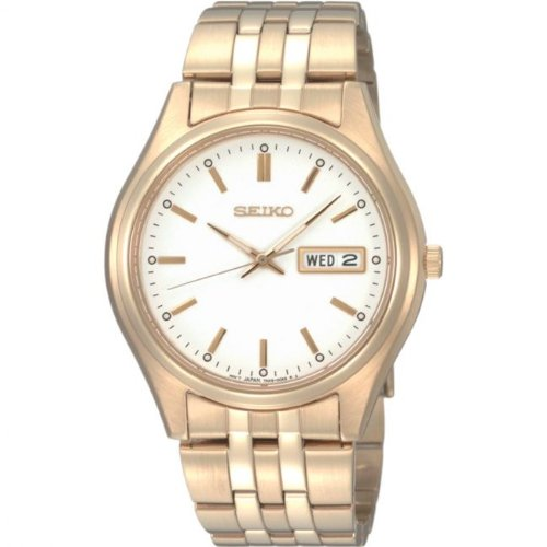 Seiko Men's Quartz Analogue Watch SGGA20P1 with Gold Plated Bracelet and White Dial
