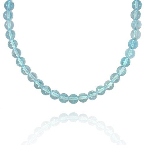8mm Round Blue Topaz Bead Necklace, 18+2