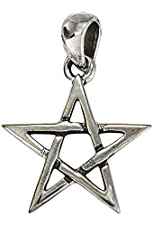 Small Sterling Silver Pentacle Pentagram Star Wiccan Pagan Jewelry Pendant