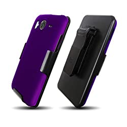 HTC Inspire 4G (3in1) Screen Guard Holster Case Combo w/ Kickstand - Purple
