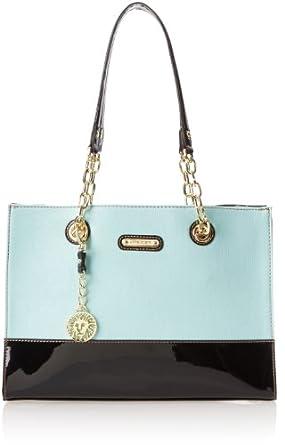 Anne Klein In Full Bloom Tote Shoulder Bag,Mint /Black,
