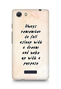 AMEZ always remember to fall asleep with a dream Back Cover For Micromax Unite 3