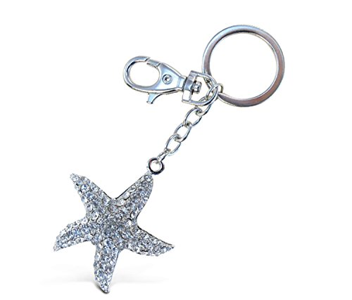 Puzzled Clear Starfish Sparkling Charm Keychain