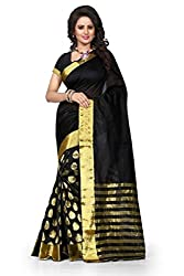 Dealseven Fashion Womans Black Color Art Silk Saree