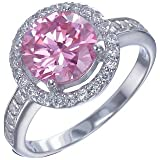 Sterling Silver Pink and White CZ Ring
