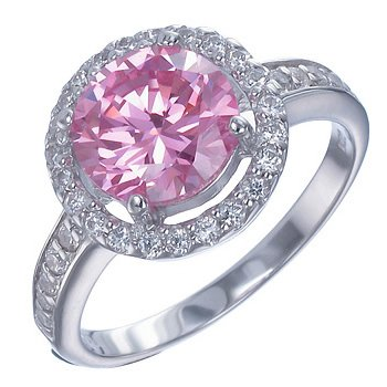Sterling Silver Pink And White Cz Ring In Size 7