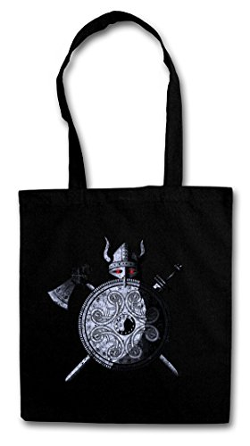 VIKING WARRIOR Hipster Shopping Cotton Bag Borse riutilizzabili per la spesa - Viking Ragnarök norvegese Scandinave Loki Sword Shield Celtic Triskel Thor Odin