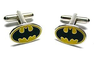 Batman Cufflinks : Black Logo Yellow Oval