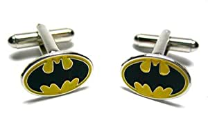 Batman Cufflinks : Black Logo Yellow Oval