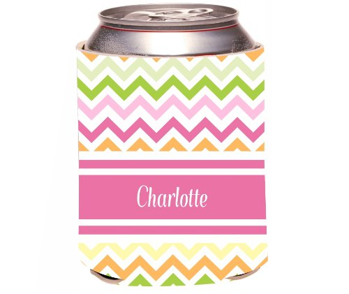 "Rikki Knighttm ""Charlotte"" Pink Chevron Name Design Drinks Cooler Neoprene Koozie"
