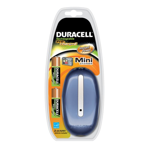 Duracell Mini Charger, with Two  Pre Charged, AA batteries, Colors may vary