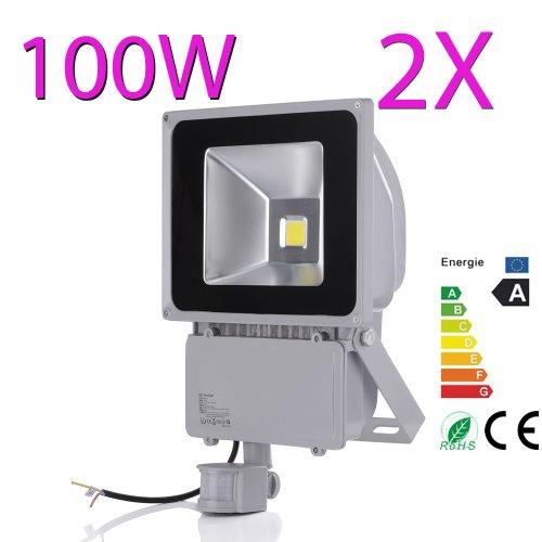 2X 100W Cool White Led Floodlight Pir Motion Sensor Security Outdoor Spot Lamp Ip65