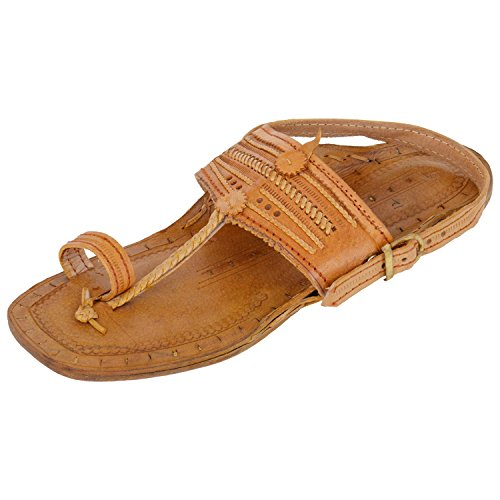 Marc MARC ONE Ethnic Brown Leather Kolhapuri Sandal With Belt For Men