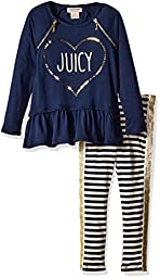 Juicy Couture Toddler Girls 2 Pieces Tunic Pants Set, Blue, 4T