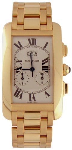 Cartier Tank American 18kt Yellow Gold Chronograph Mens Watch W26058K2