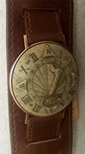 Fossil Sundial Watch Vintage SD-1 with Wide Cuff Leather Band Sun Dial