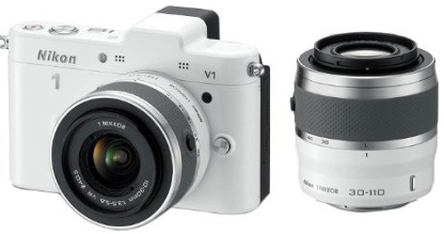 Nikon 1 V1 Compact System Camera with 10-30mm and 30-110mm Double Lens Kit - White (10.1MP) 3 inch LCD