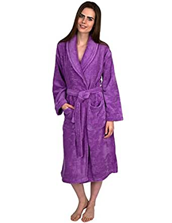 TowelSelections Egyptian Cotton Bathrobe Terry Shawl Robe for Women and Men Made in Turkey X-Small/Small African Violet