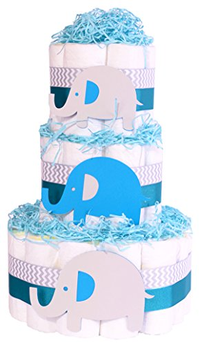 bebe-elefante-para-panales-para-tartas-de-ducha-boys-azul-chevron-gris-cesta-de-regalo