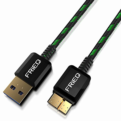 FRiEQ Hi-Speed Extra Long (3.3 Feet/1m) Nylon Braided Tangle-Free USB 3.0 Male To Micro B Data Cable with Gold-Plated Connectors for Samsung Galaxy Note 3 / Samsung Galaxy S5 (Black/Green)