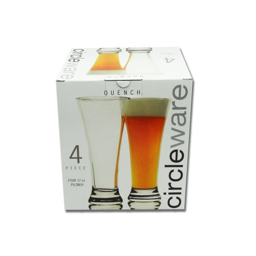 Circleware Quench 12-Ounce Pilsner Glass Set, 4-Piece Beer Glasses