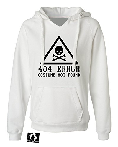 [X-Large White Womens 404 Error Costume Not Found Funny Cheap Halloween Deluxe Soft Hoodie] (Costume Not Found 404)